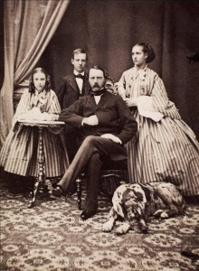 Princess Dagmar, Prince Vilhelm, Christian IX King of Denmark and Princess Alexandra.  1861