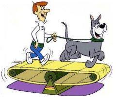 George Jetson mit der Dogge Astro